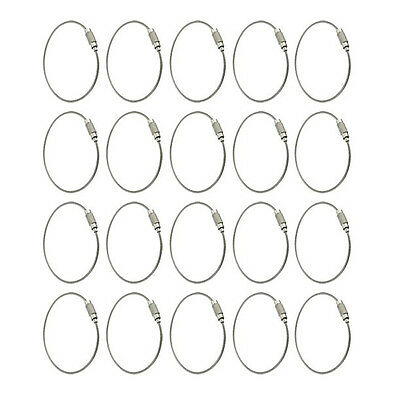 20x Stainless Steel 15cm Wire Keychain Cable Key Ring for Outdoor Hiking LW