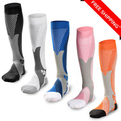 2 Pairs 20-30 mmhg Mens Sports Knee High Compression Socks for Running, Fitness