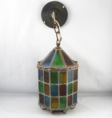 Vintage Arts & Crafts Stained Colored Leaded Glass Outdoor Light Fixture Mcm