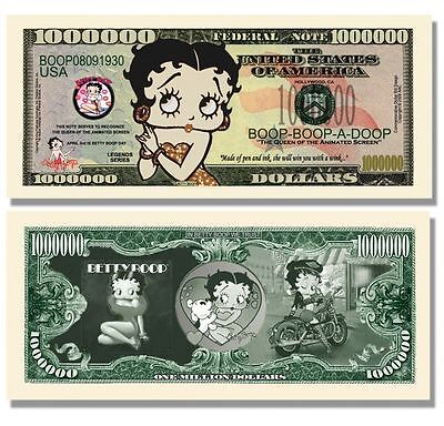 A Betty Boop ONE MILLION DOLLAR BILL will help TOYS FOR TOTS give a child a TOY.