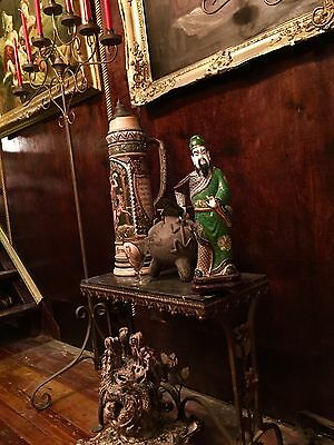 Incredible Cloisonné Large Antique Japanese Figure On Wood Stand