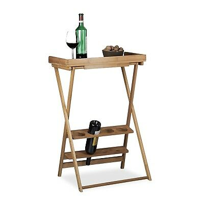Relaxdays Wine Rack with Shelf, Bamboo, Folding Table, 4x Bottle Holders, 4x