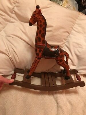 Rare Vintage Wooden Carved Giraffe ROCKING Horse hand painted