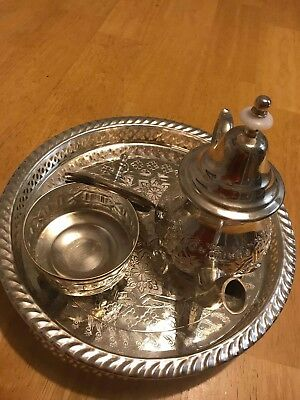 Set of Antique Traditional Moroccan  Engraved & Carved Silver Tea pot and tray