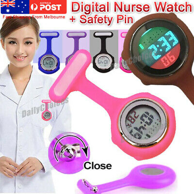 Electric Multi-function Digital Silicone Nurse Watch Brooch Fob Pocket Watch OZ