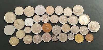 foreign coins lot of 35 vintage mixed lot