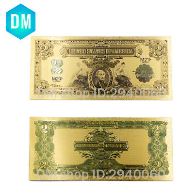 1899 Year USA 2 USD Gold Banknote Currency World Money Business & Birthday Gifts