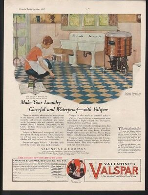 1925 Valentine Valspar Kitchen Linoleum Home Decor Sink Washing Machine -22103