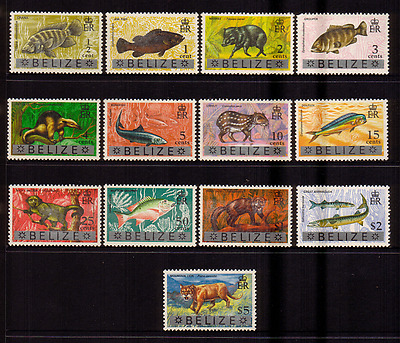 Belize...1974 Fish And Animals....set Of 13 To $5.00....mint  Unhinged