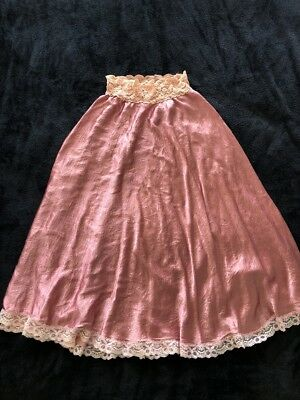 VINTAGE Dusty Pink Satin & Floral Lace A-Line Pull On Midi Slip Skirt 8 10 12