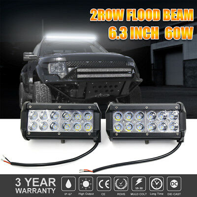 2x 7INCH 60W Spot LED WORK LIGHT BAR OFF ROAD ATV FOG TRUCK 4WD Bumper 3600LM