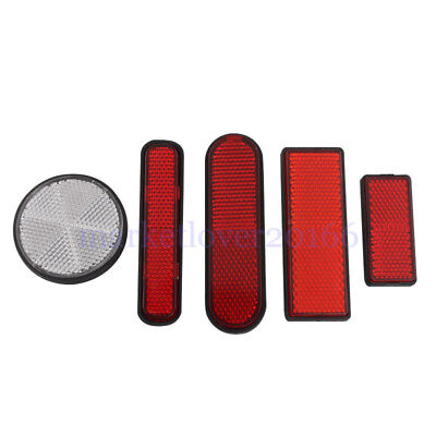 Round Oval Rear Reflectors Red Clear Universal For Motorcycles ATV Dirt Bikes