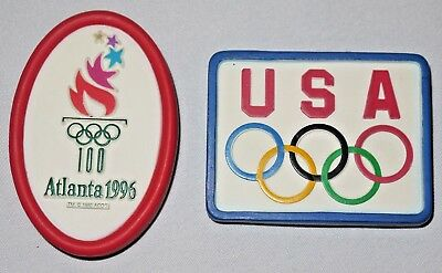Vintage Lot of 2 GUC 1990s USA OLYMPICS Atlanta 1996 Classic Magnet