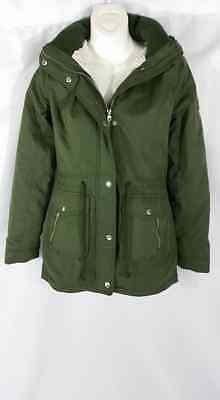 145f2be7a39b2 NWT Hollister by A&F Heritage Sherpa Lined Parka Jacket Coat Olive - Size XS