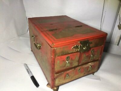 Large Old Vintage Chinese Jewelry Box with mirror