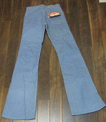 Vintage NWT 1970s Levis Baby Blue Corduroy 28x32 Pants Bell Bottoms Flares NOS