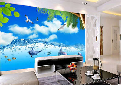 Rosy Radical Beach 3D Full Wall Mural Photo Wallpaper Printing Home Kids Decor
