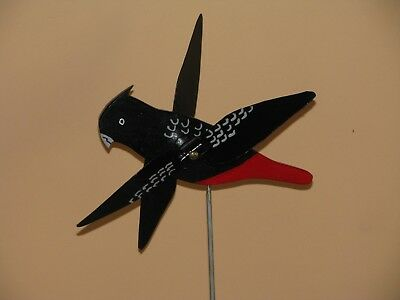 Red Tailed Black Cockatoo Whirligig With Spinning Wings