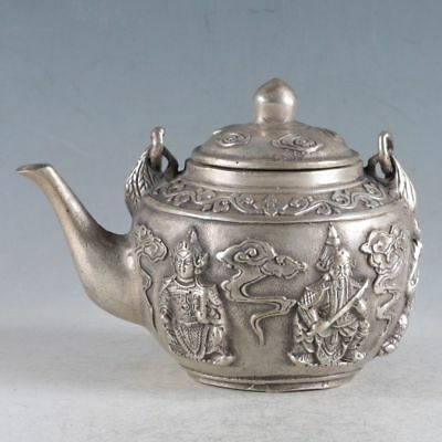 Collection Chinese Silvering Copper Handwork Five God Of Wealth Teapot