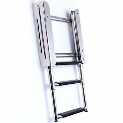 3 Step Stainless Steel Telescoping Ladder For Marine Boat Upper Platform