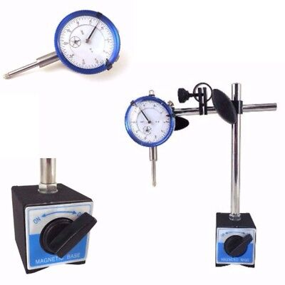 "Dial Indicator Gauge Set Magnetic Base Test Precision Resolution 0.001"" Per 1"""