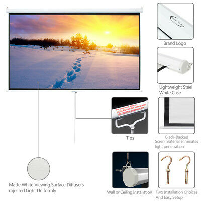 """Big Sale 100"""" Projector Screen 16:9 Projection HD Manual Pull Down Home Cinema"""