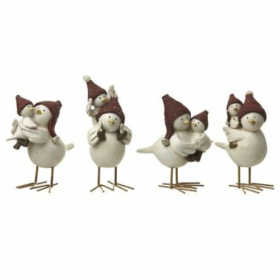 Christmas White Birds & Baby Birds with Red Hats Set Of 4