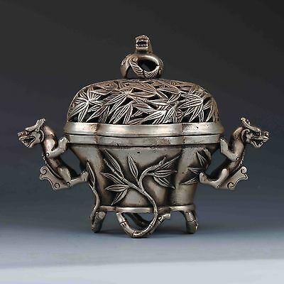 Chinese Tibetan Silver Hand-carved Dragon Incense Burner&Lid W XuanDe Mark