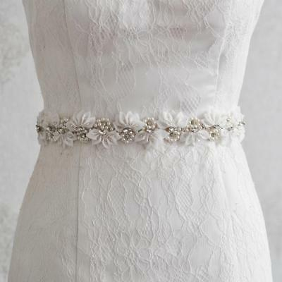 Wedding Crystal Pearl Flower Sash Waist Belt Bride Party Evening Dress Accessory