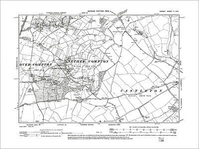 Nether Compton, Over Compton, Trent, old map Dorset 1904: 5SE