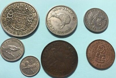 New Zealand Pre Decimal Coin ( 7 Coins; George Sixth)