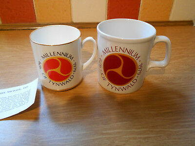Two Isle of Man Mugs - One by Rushton pottery - Tynwald