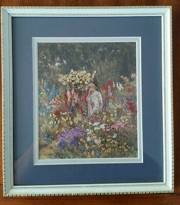 ASOLUTELY GORGEOUS SEWN FLOWER GARDEN PICTURE in frame