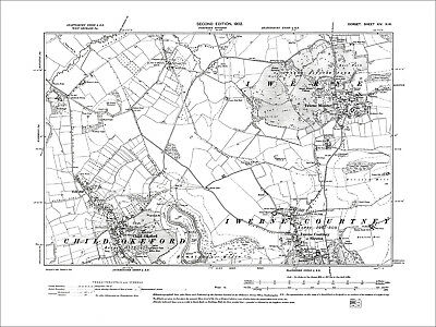 Childe Okeford, Iwerne Courtney, Iwerne Minster, old map Dorset 1902: 14NW
