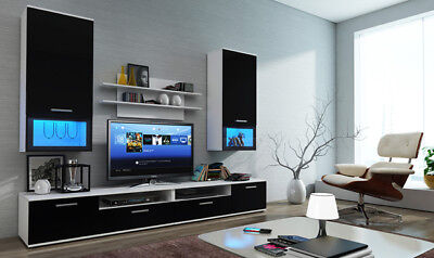 White and Black Living Room Furniture Set Tv Unit Display Stand Gloss