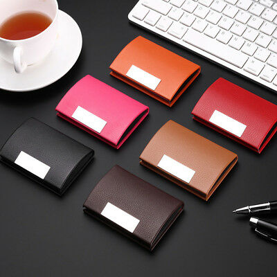 Women Men Leatherette Stainless Steel Business ID Credit Card Wallet Holder