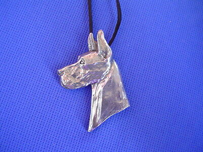 Great Dane HEAD necklace #30A Pewter Working Dog Jewelry by Cindy A. Conter CAC
