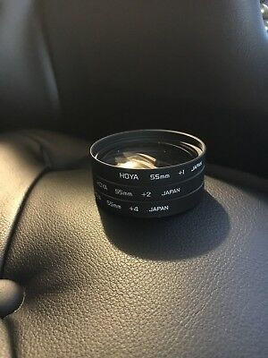 Hoya Close-Up Set 55mm Macro Filters +1 +2 +4 With Fold-Out Case