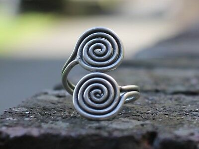 Handmade ethnic miao silver spiral ring Bohemian Gypsy hippie tribal ring Gift