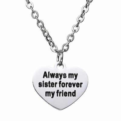 Always My Sister Forever My Friend Heart Pendant Necklace Christmas Gift For Sis