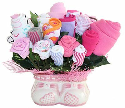 New Baby Gift Bouquet Made Out Of Baby Clothes And Accessories, Baby Planter