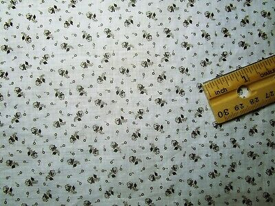 "Antique Fabric 19c print White-Black ditsy Crisp! 7 lrg squares 10-11"" Quilt"