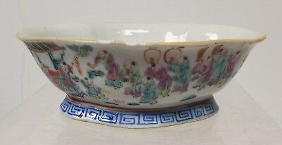 Antique Vintage CHinese 100 Children Bowl Republic 20th Century As Is Dish