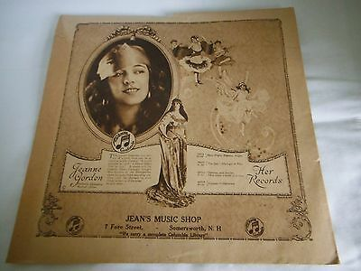 1920s COLUMBIA JEANNE GORDON Jean's Music shop. Record Dust Cover Sleeve