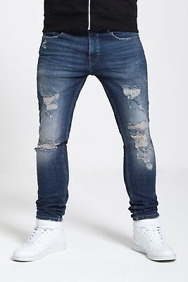 Mens Skinny Stretch Ripped Jeans In Mid And Dark Blue (Forge)