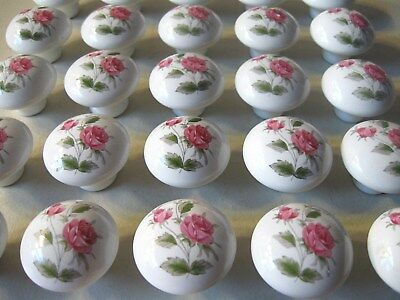 (26)  Ceramic Drawer Pulls / Knobs -- White With Flowers -- Screws Included