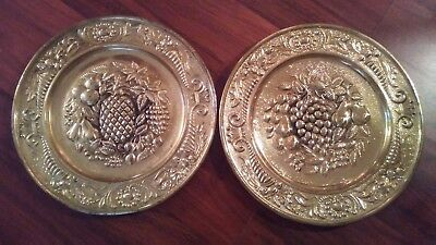 Two Vintage Brass Wall Hanging Plates, Made in England.