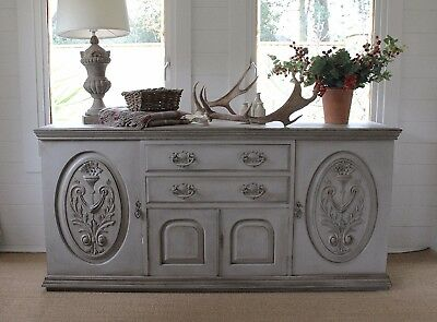 "Enormous ""rustic Painted"" Mahogany Antique Sideboard/""french Farmhouse Style"""