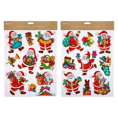 36x Christmas Window Stickers Santa Coloured Glitter Window Cling Reusable Decal
