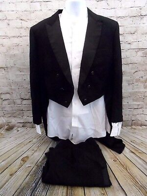 Authentic Vintage W&J Wilson Black Tuxedo Jacket Tails with Pants and Shirt